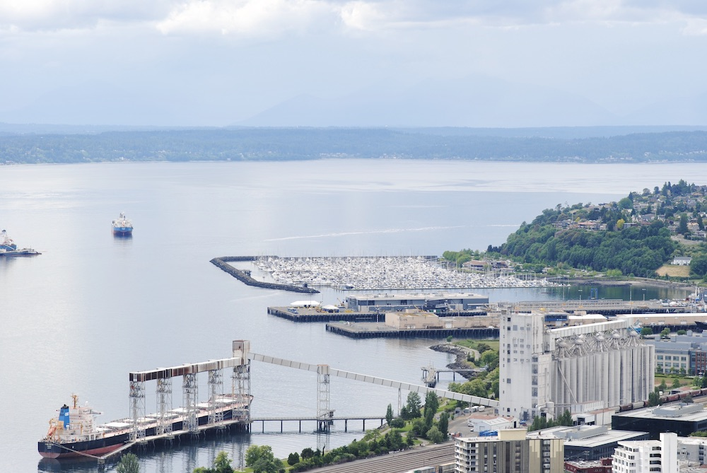marina views from the top of Seattle's space needle - G&L Seattle Travel guide